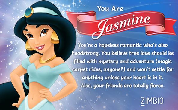 Den Disneyfigur jag är mest lik är Jasmine.