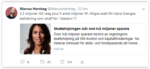Tweet om miljonerna som får höjd skatt på ISK och KF.