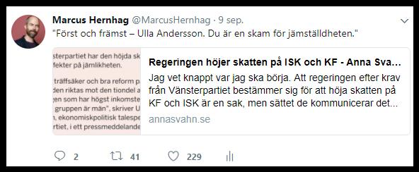 Skärmdump på min mest gillade tweet hittills. Den var om skatten på ISK.
