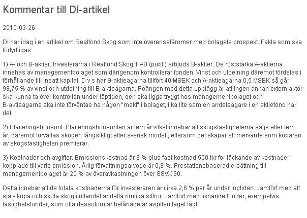 Euroforest realfond Skog svar till DI och Benson