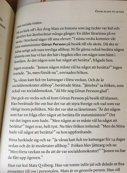 Ett skämt om Göran Persson i boken Överlägsen på aktier