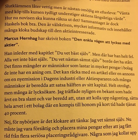 I boken Överlägsen på aktier tar Tore Davegårdh upp min första aktiebok och missförstår inledningen. Eller nåt sånt.